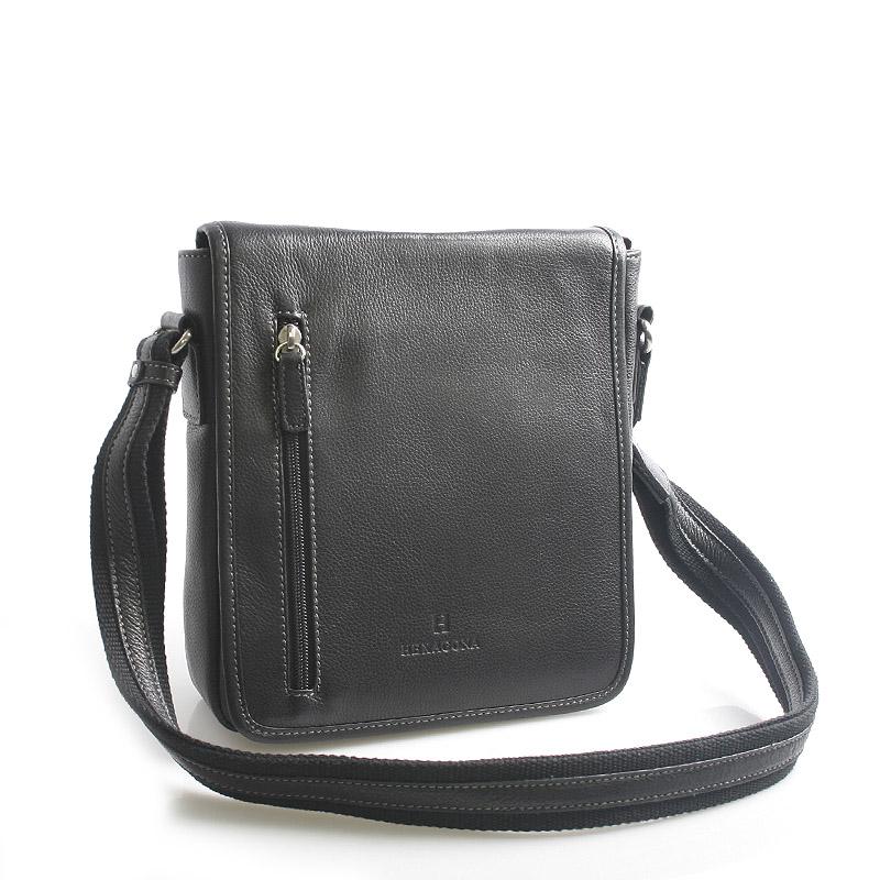 Čierna kožená taška cez rameno Hexagona 461326
