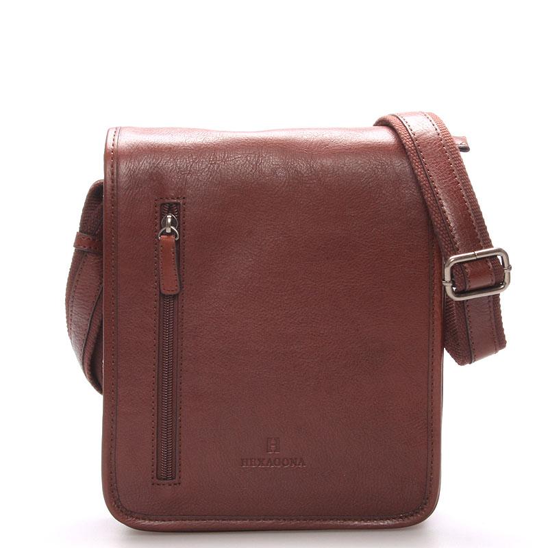 Hnedá luxusná kožená taška cez rameno Hexagona 23483