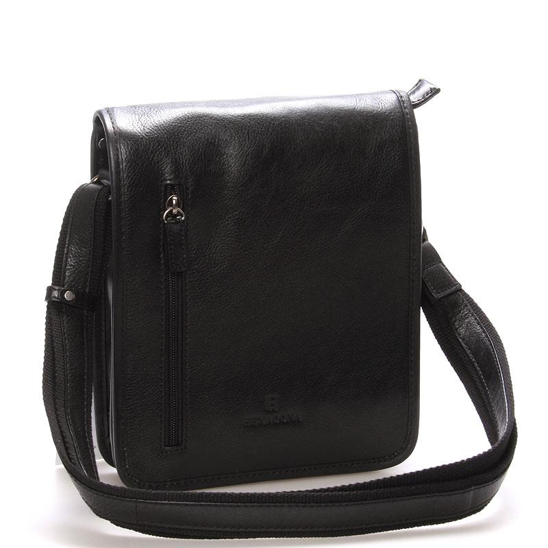 Čierna luxusná kožená taška cez rameno Hexagona 23483