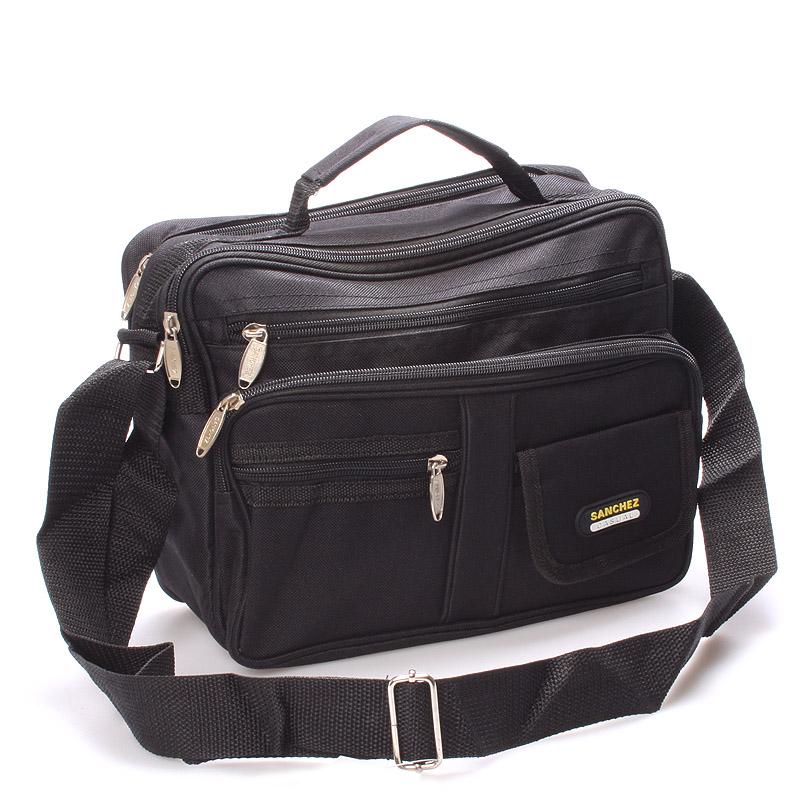 Pánska látková taška cez rameno čierna - Sanchez Riccardo