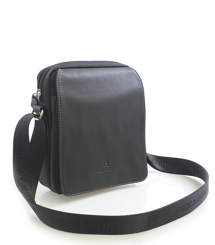 Čierna pánska kožená taška cez rameno Hexagona 299162