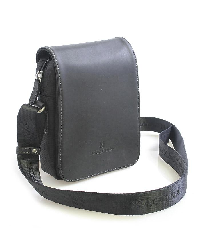 Luxusná pánska kožená kabelka cez rameno čierna - Hexagona Filippo