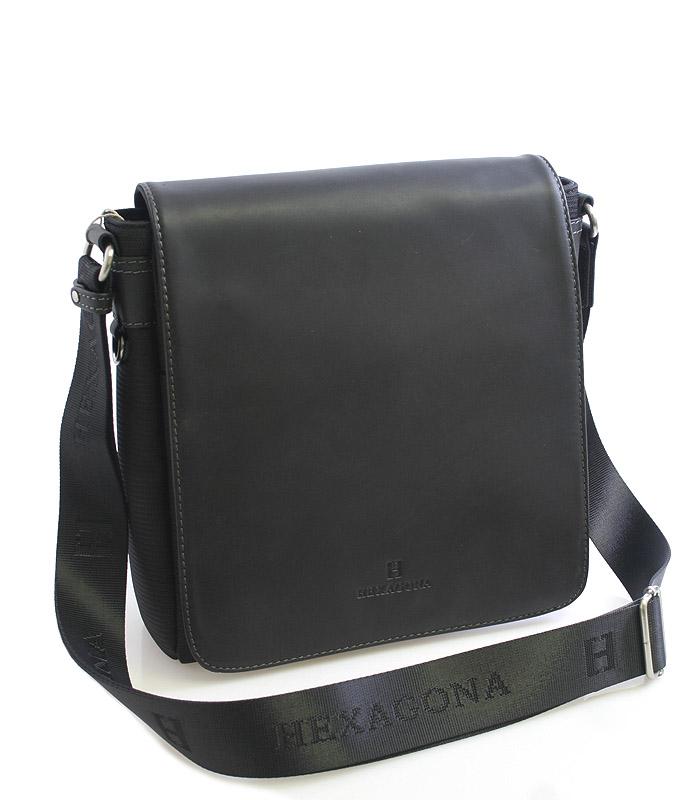 Čierna kožená taška cez rameno Hexagona 299156