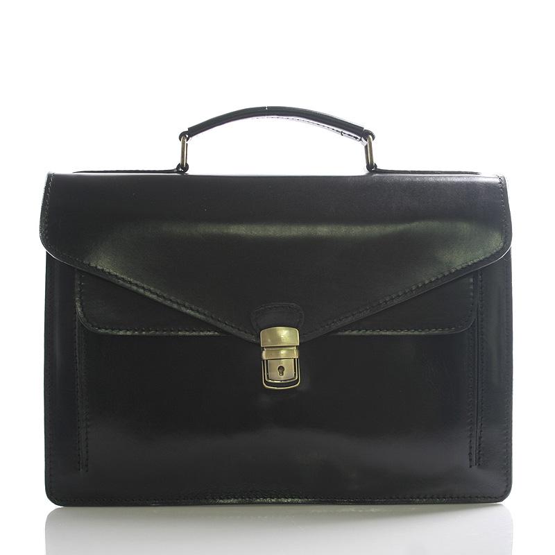Luxusná čierna kožená aktovka ItalY Kevin