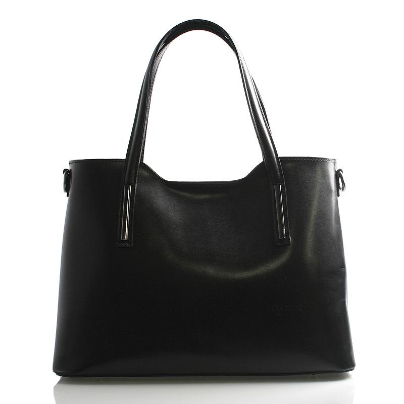 Väčšia kožená kabelka čierna - ItalY Sandy
