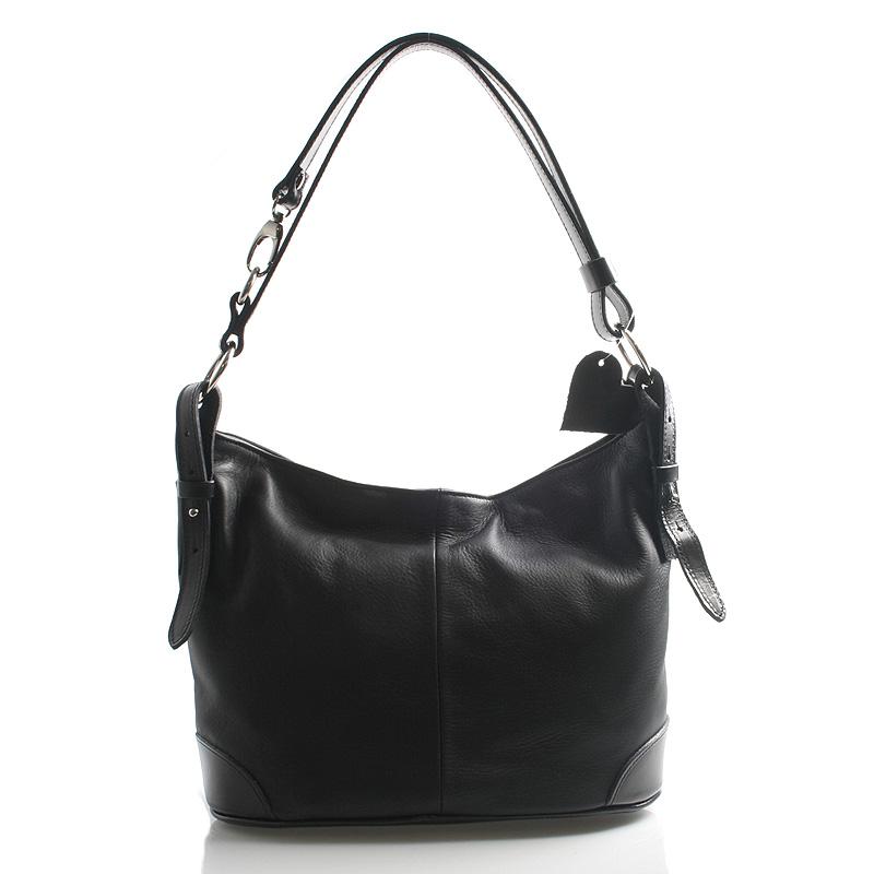 Čierna kožená kabelka cez plece crossbody ItalY Harmony