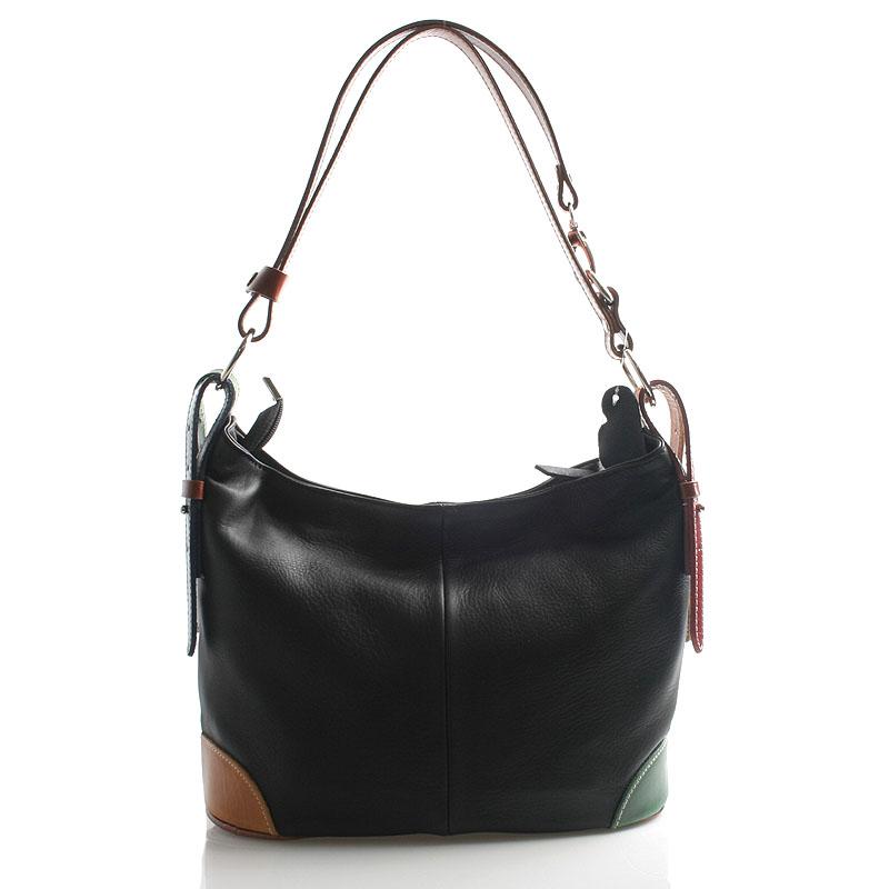 Čierna farebná kožená kabelka cez plece crossbody ItalY Harmony