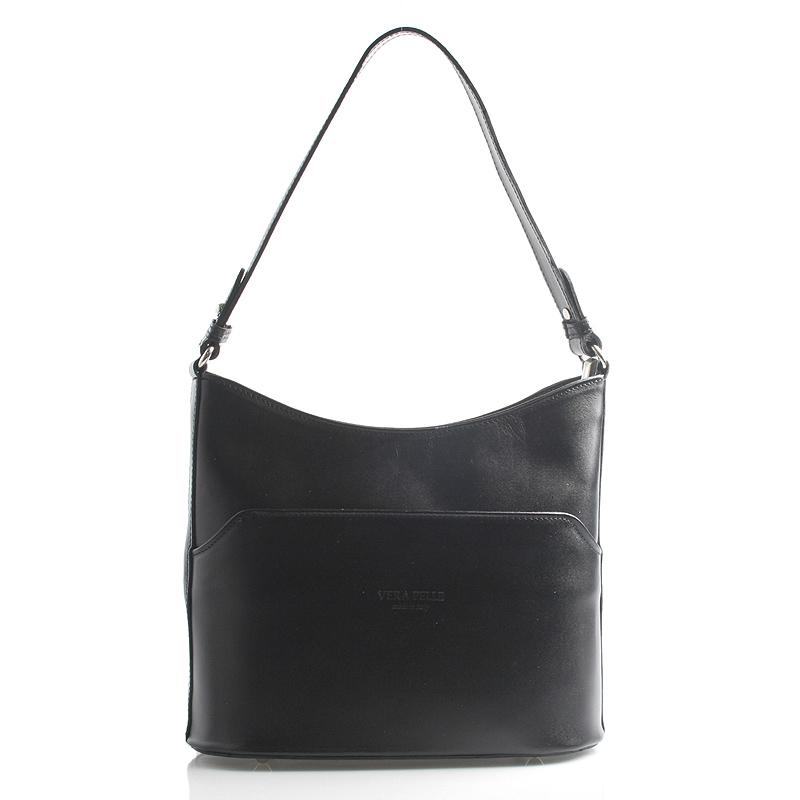 Čierna kožená kabelka cez plece ItalY Lydia