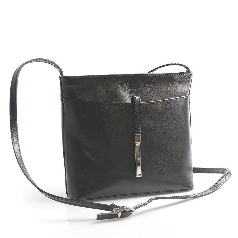 Dámska kožená crossbody kabelka čierna - ItalY Aneta