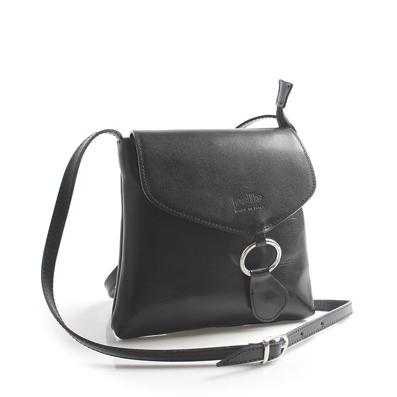 Dámska kožená crossbody kabelka čierna - ItalY Saffie