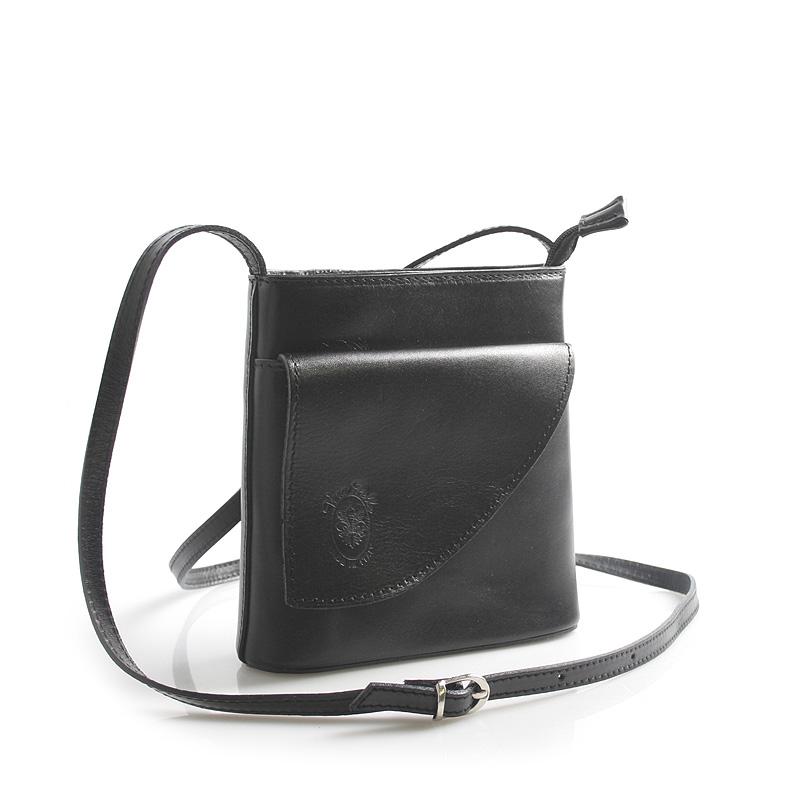 Dámska kožená crossbody kabelka čierna - ItalY Cora