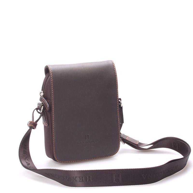 Luxusná pánska kožená kabelka cez plece hnedá - Hexagona Filippo