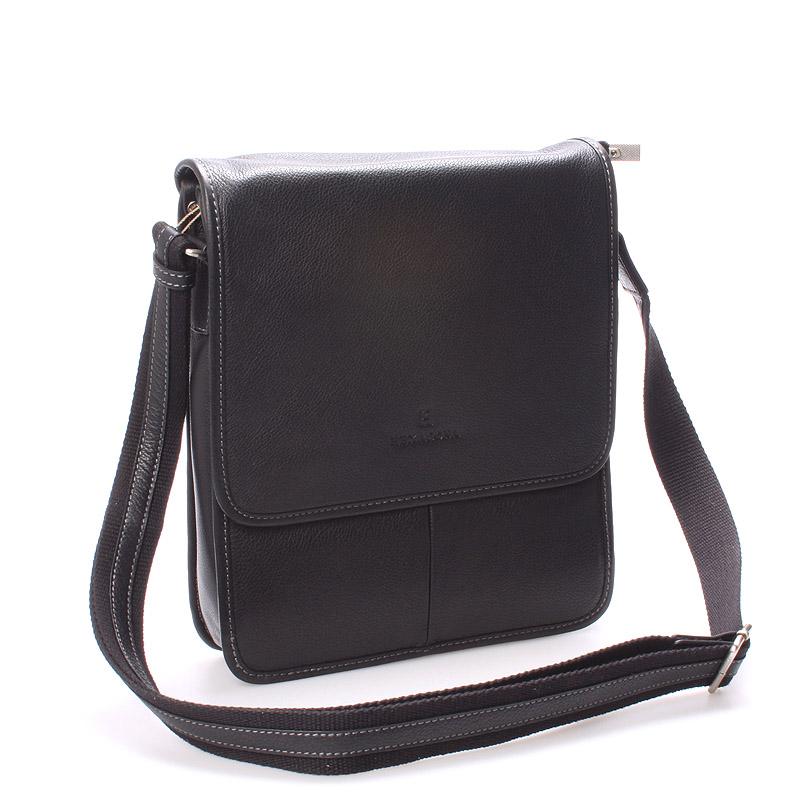 Luxusná pánska kožená taška cez plece čierna - Hexagona Marco