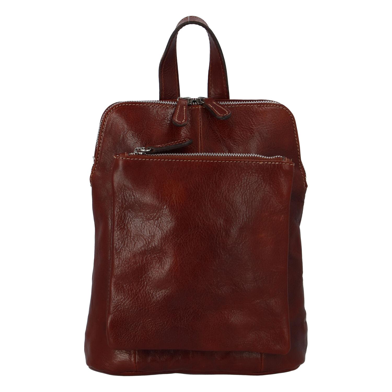 Dámsky kožený batôžtek kabelka hnedý - ItalY Englis