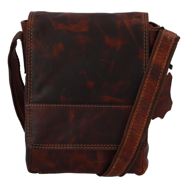 Kožená pánska crossbody taška na doklady koňaková 0213