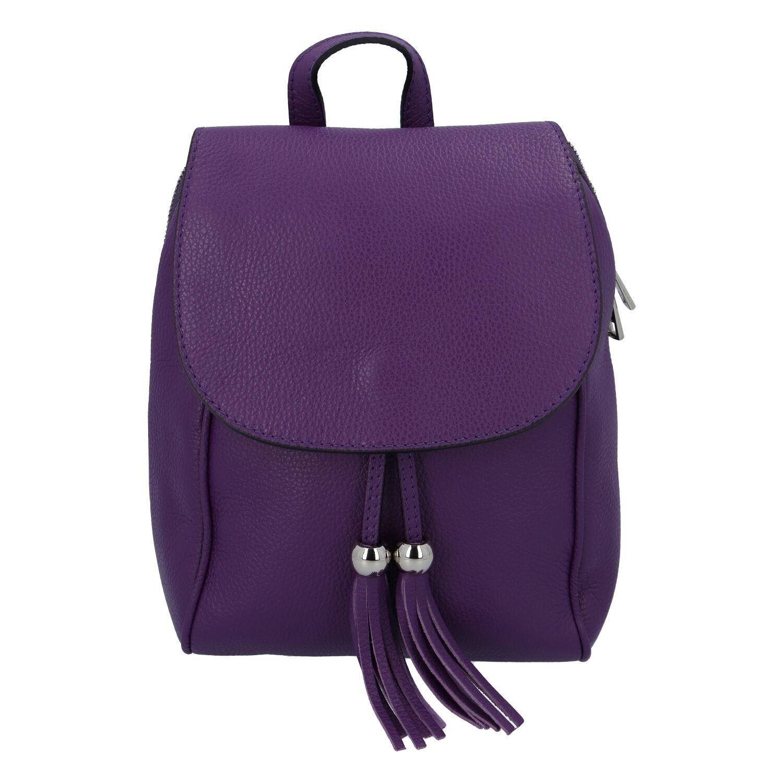 Dámsky kožený batôžtek tmavo fialový - ItalY Joseph