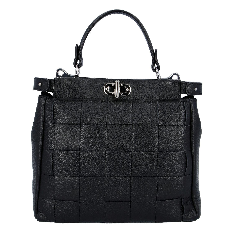 Dámska kožená kabelka čierna - ItalY Rotterda