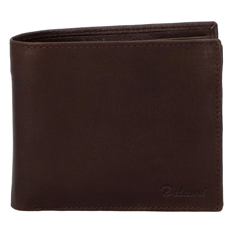 Pánska kožená voľná tmavohnedá peňaženka - Delami 8222