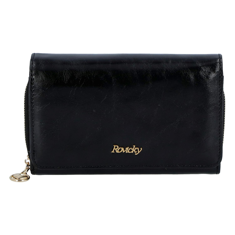 Dámska kožená peňaženka čierna - Rovicky 8806