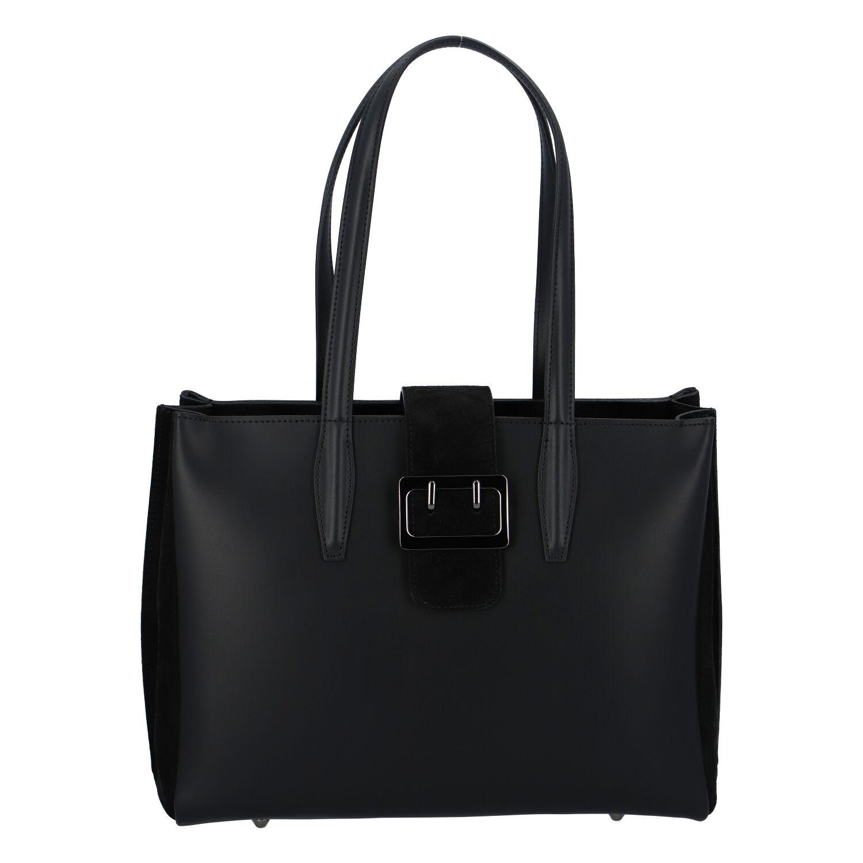 Dámska kožená kabelka cez plece čierna - ItalY Driada