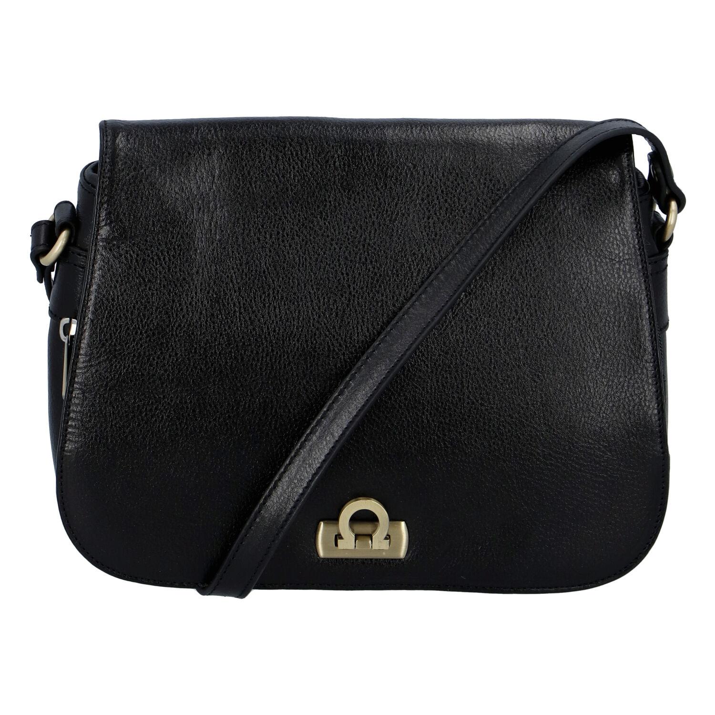 Luxusná dámska kožená kabelka čierna - Hexagona Francesca