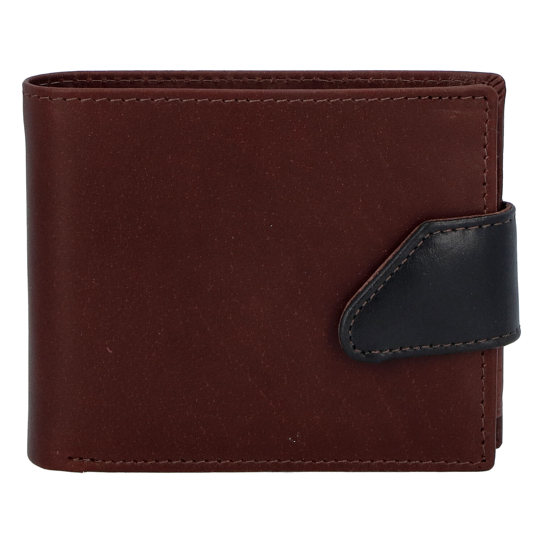 Hladká pánska hnedá kožená peňaženka - Tomas 76VT