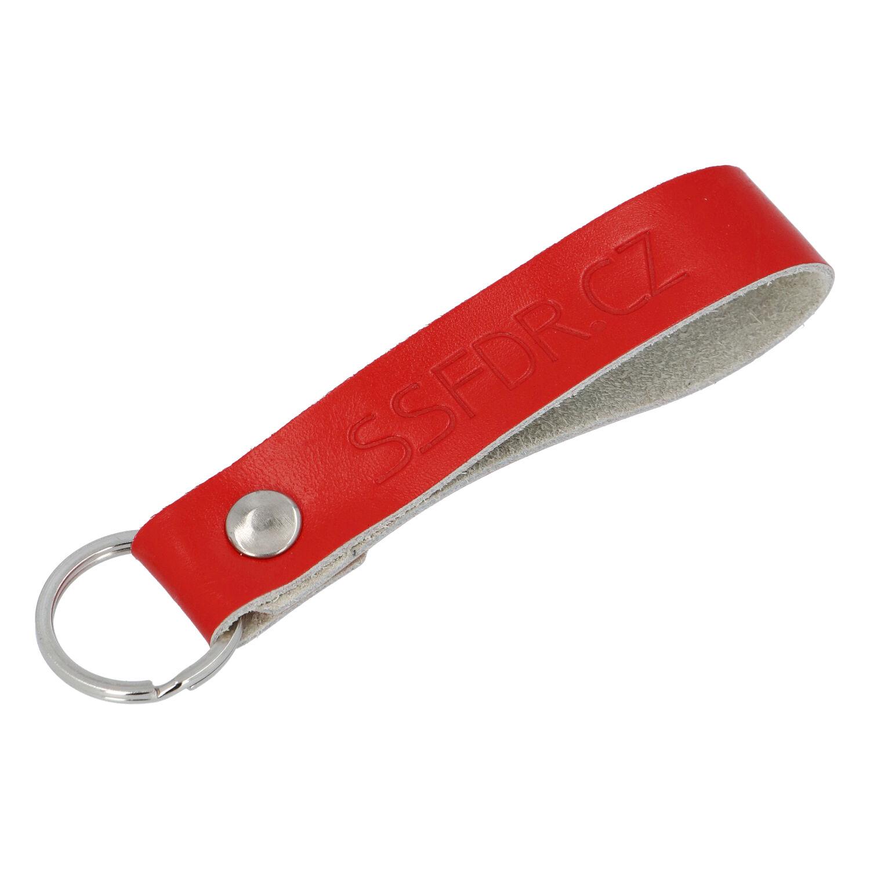 Kožená kľúčenka pútko na kľúče červená - SSFDR Azuro