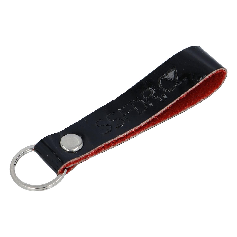 Kožená kľúčenka pútko na kľúče čierna lesk - SSFDR Azuro