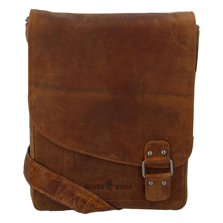 Pánska kožená taška svetlohnedá - Greenwood Maroon