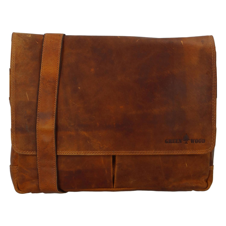 Pánska kožená taška svetlohnedá - Greenwood Rewrite