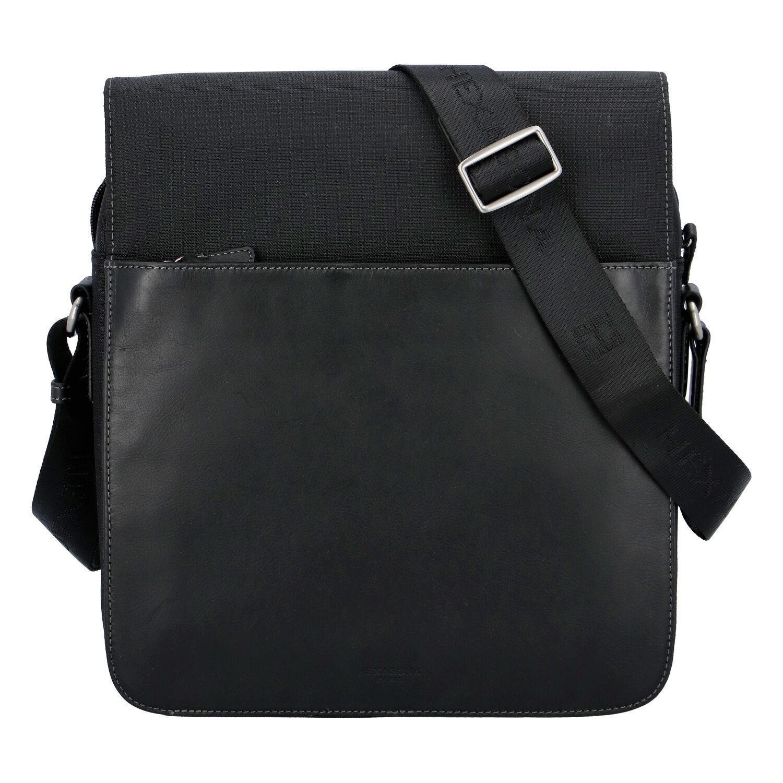 Moderná polokožená kožená taška čierna - Hexagona Cendrik