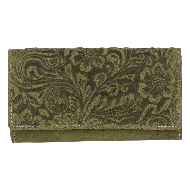 Dámska kožená peňaženka zelená so vzorom - Tomas Kalasia