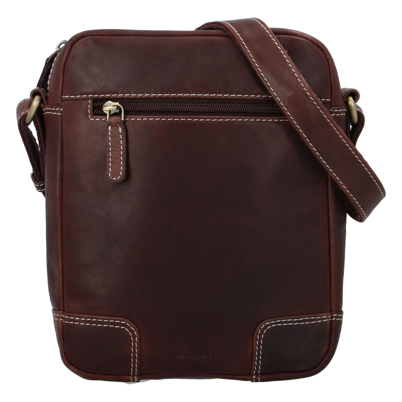 Pánska kožená taška hladká koňaková - Diviley Harlem