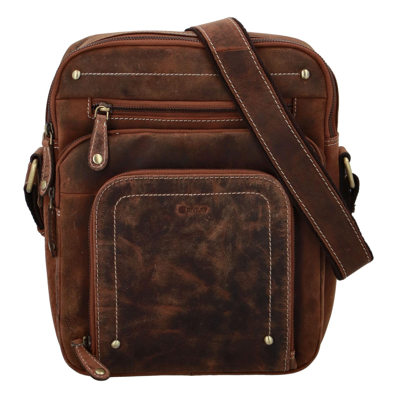 Pánska kožená taška brúsená camel - Diviley Hook