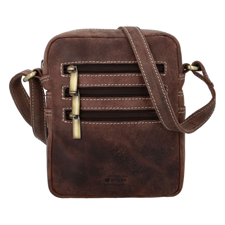 Pánska kožená taška brúsená hnedá - Diviley Bronx