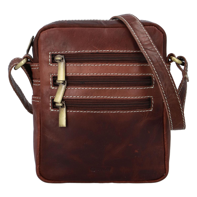 Pánska kožená taška hladká hnedá - Diviley Bronx