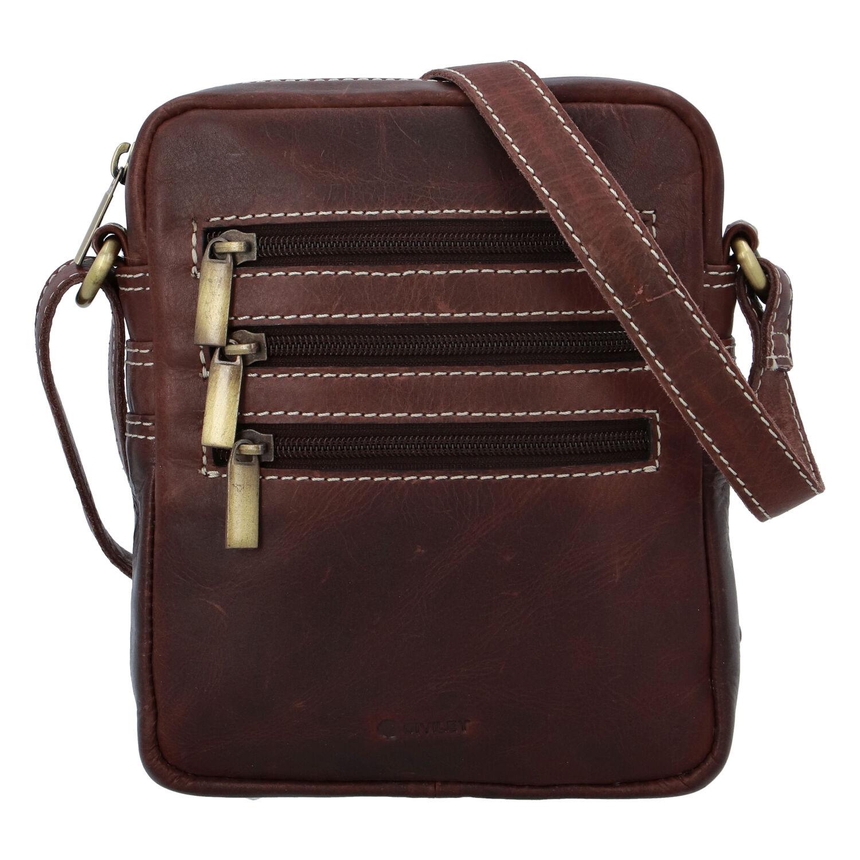 Pánska kožená taška hladká koňaková - Diviley Bronx