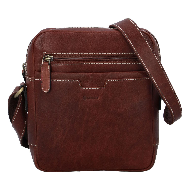 Pánska kožená taška hladká hnedá - Diviley Qeens