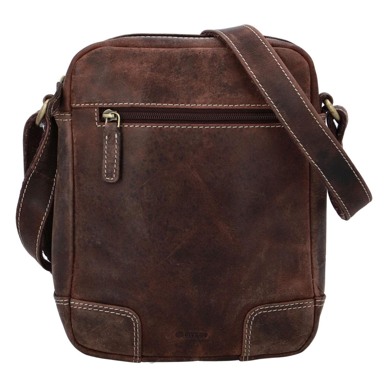 Pánska kožená taška brúsená hnedá - Diviley Harlem