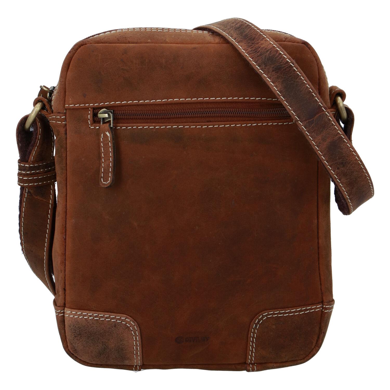 Pánska kožená taška brúsená camel - Diviley Harlem