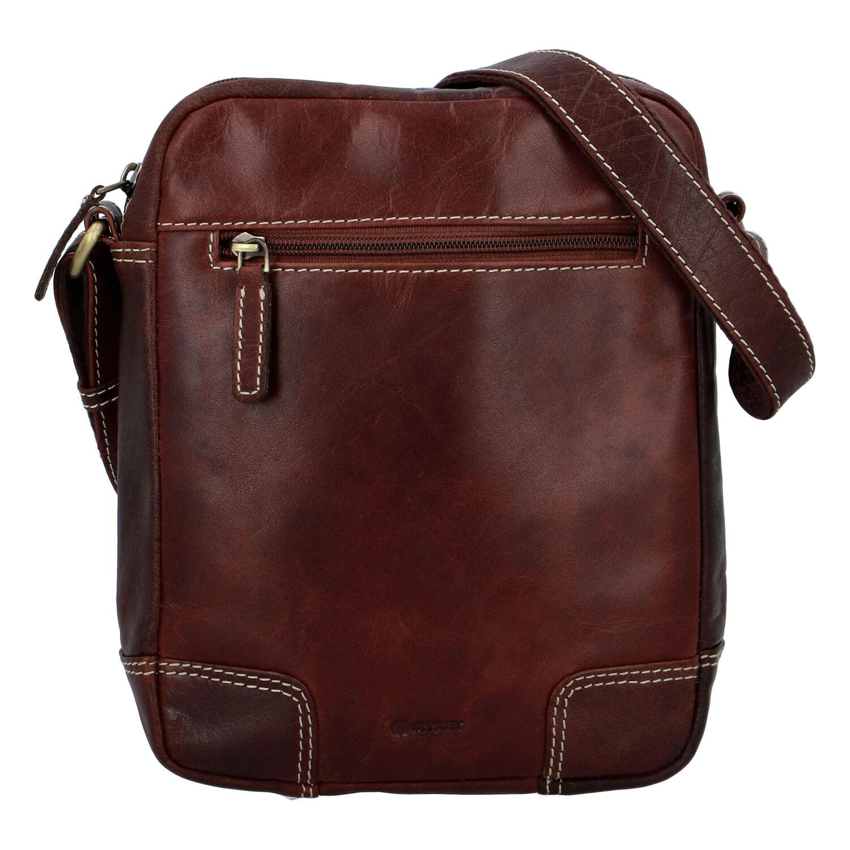 Pánska kožená taška hladká hnedá - Diviley Harlem