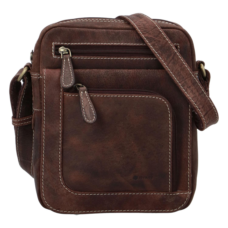 Pánska kožená taška brúsená hnedá - Diviley Astoria
