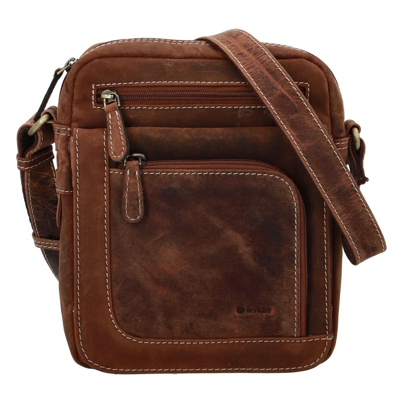 Pánska kožená taška brúsená camel - Diviley Astoria