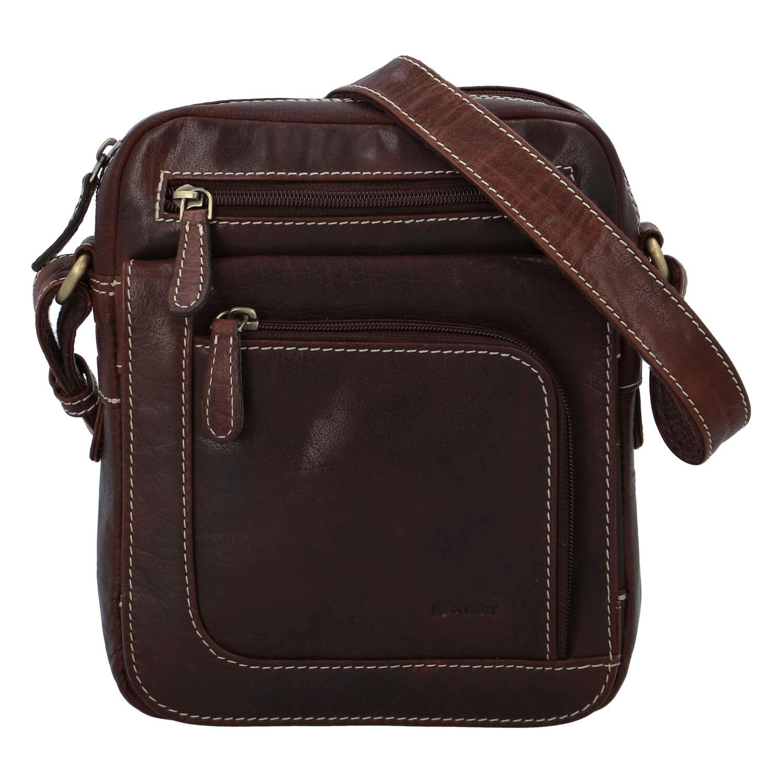 Pánska kožená taška hladká coffee - Diviley Astoria