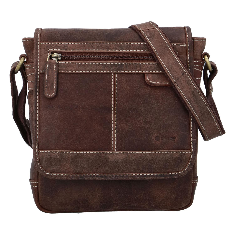 Pánska kožená taška brúsená hnedá - Diviley Bowery
