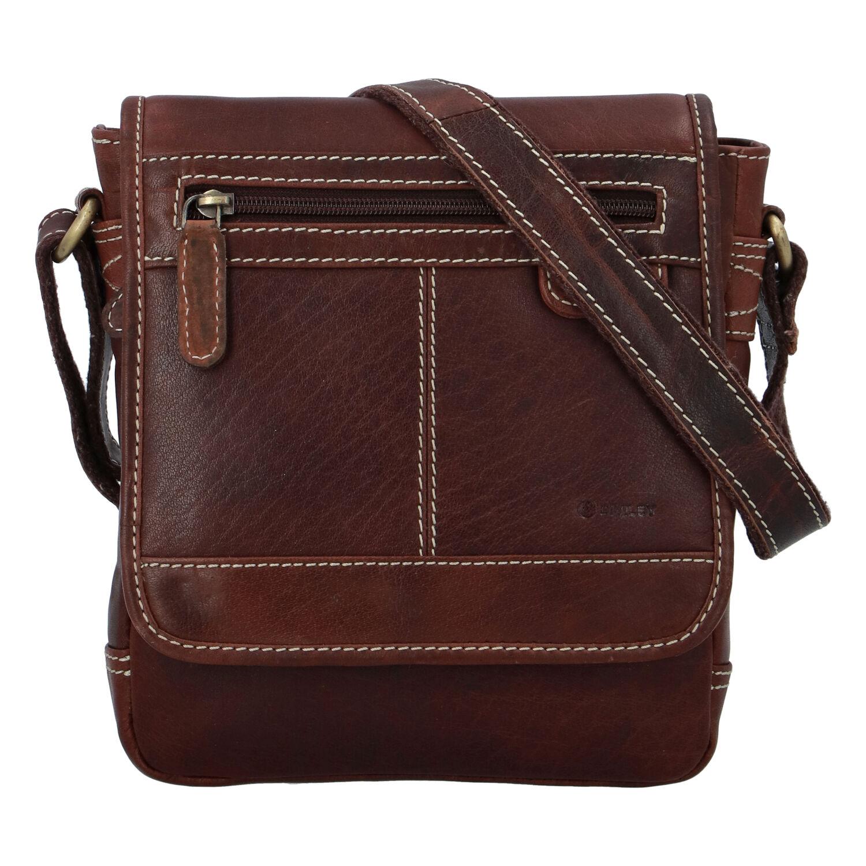 Pánska kožená taška hladká hnedá - Diviley Bowery