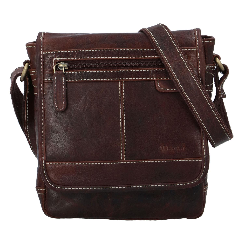 Pánska kožená taška hladká coffee - Diviley Bowery