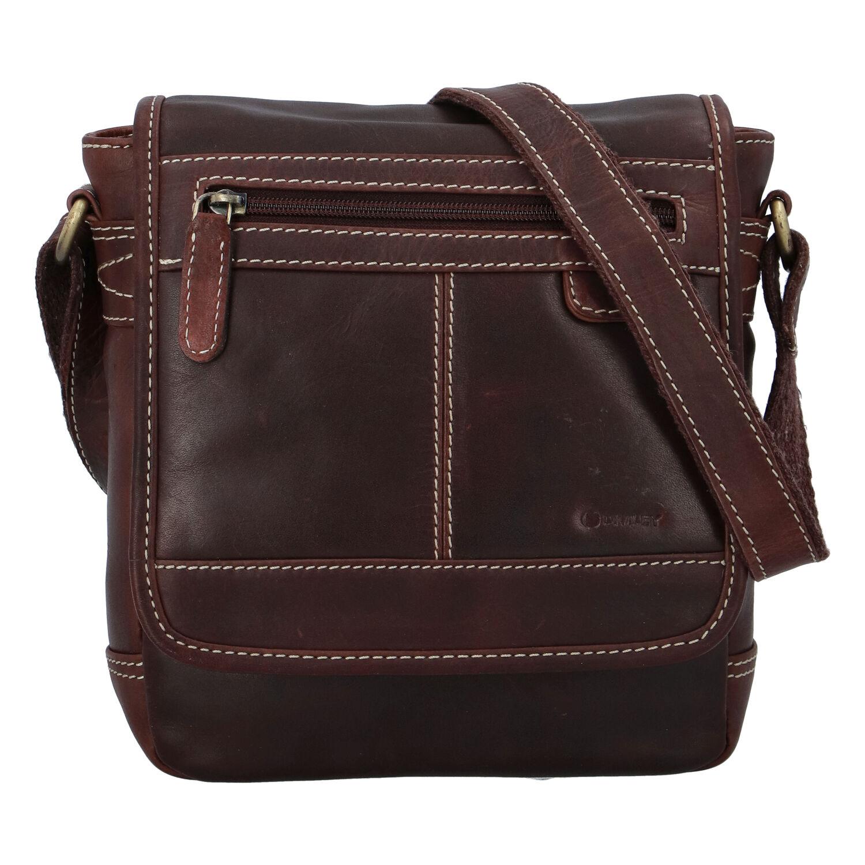 Pánska kožená taška hladká koňaková - Diviley Bowery