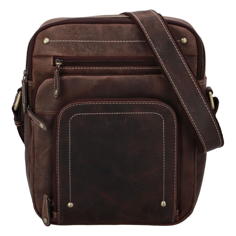 Pánska kožená taška brúsená hnedá - Diviley Hook