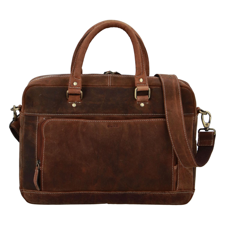 Pánska kožená taška brúsená camel - Diviley Lenox